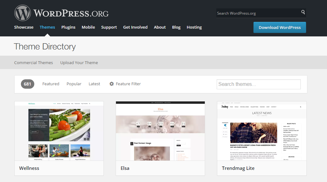 Install WordPress Theme via Theme Directory