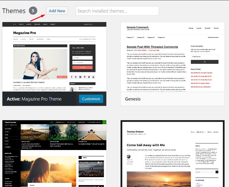 add new theme WordPress