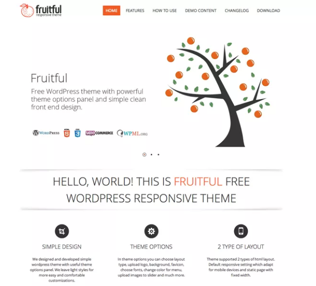 fruitful theme minimalist theme for WordPress
