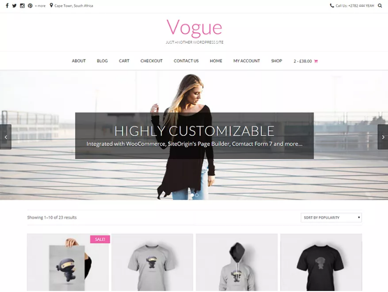 vogue minimal design theme for WordPress