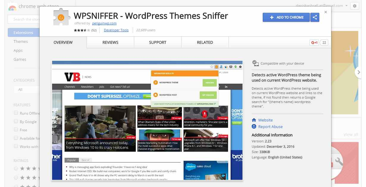 WPSniffer WordPress Theme Sniffer