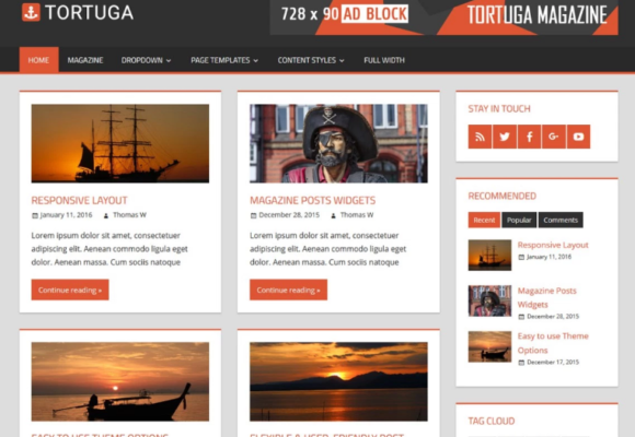 wordpress tortuga theme