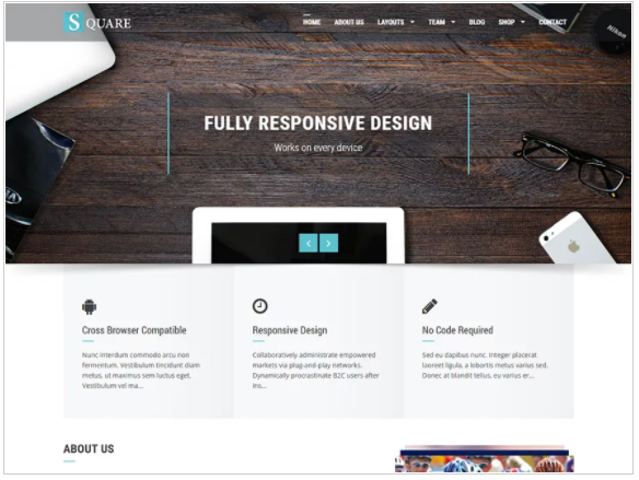 Square minimalist wordpress themes