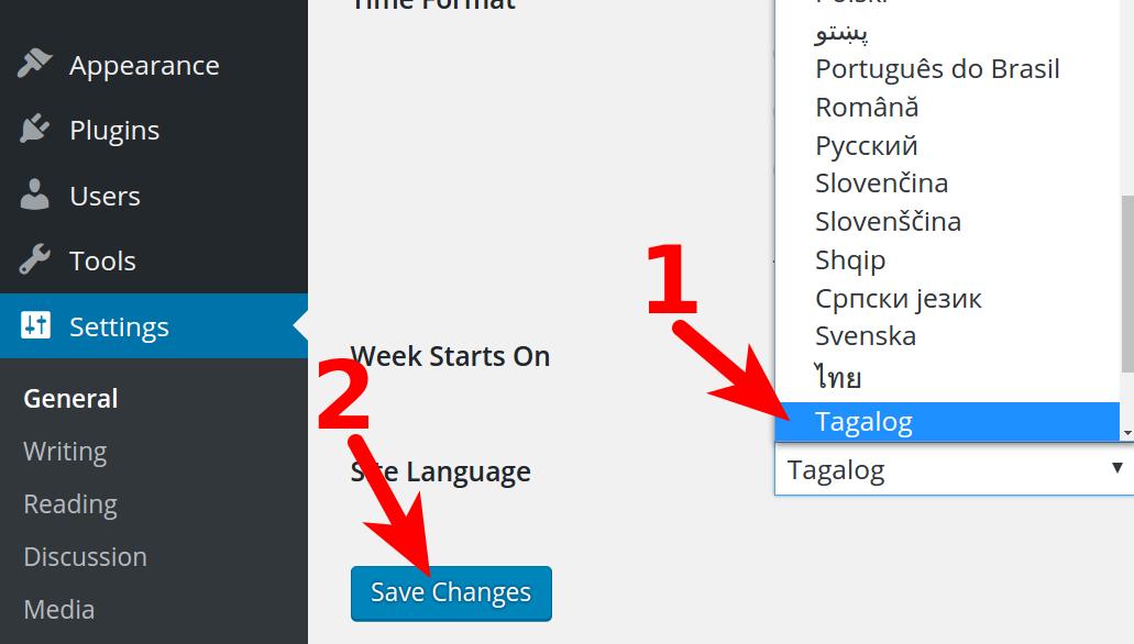 Site Language option