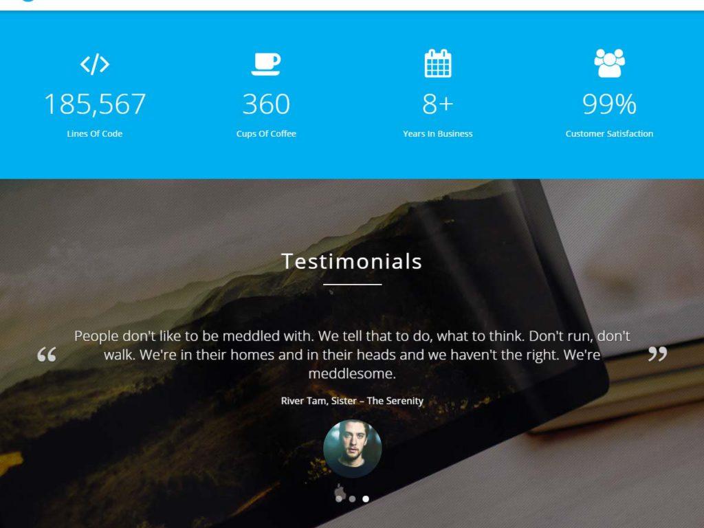Intergral WordPress theme Testimonials section