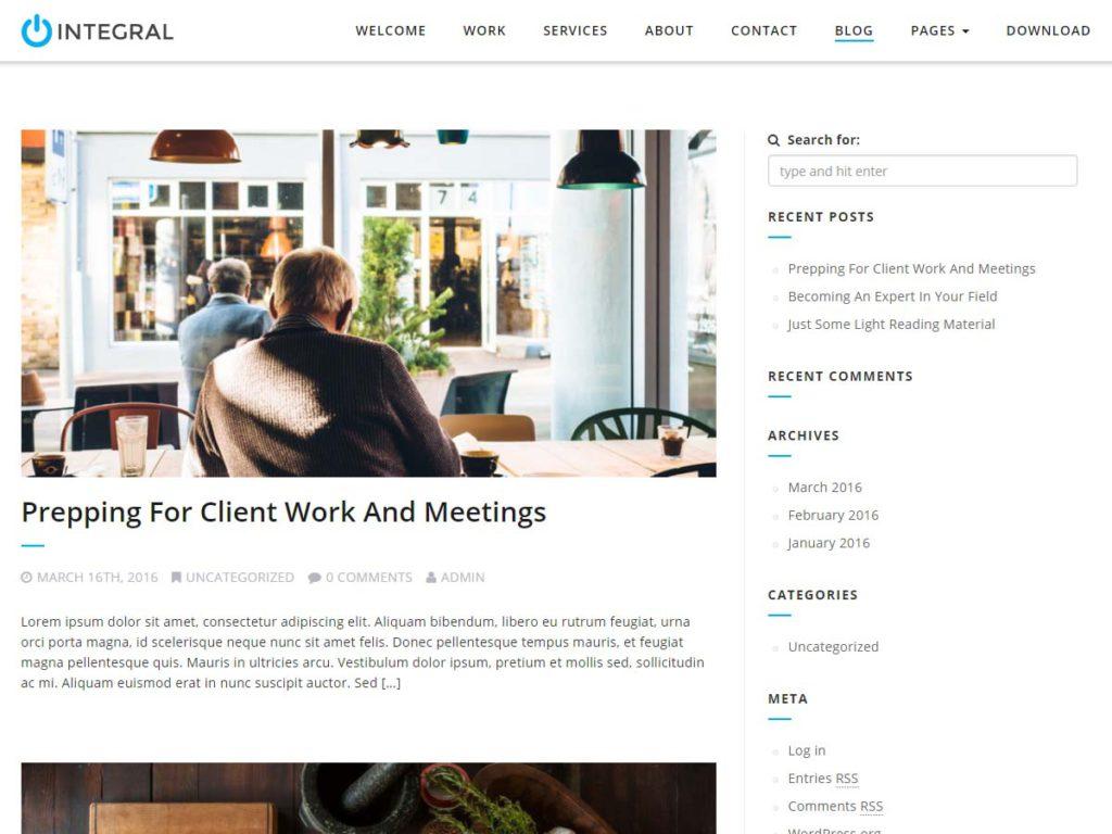 Intergral WordPress theme post section