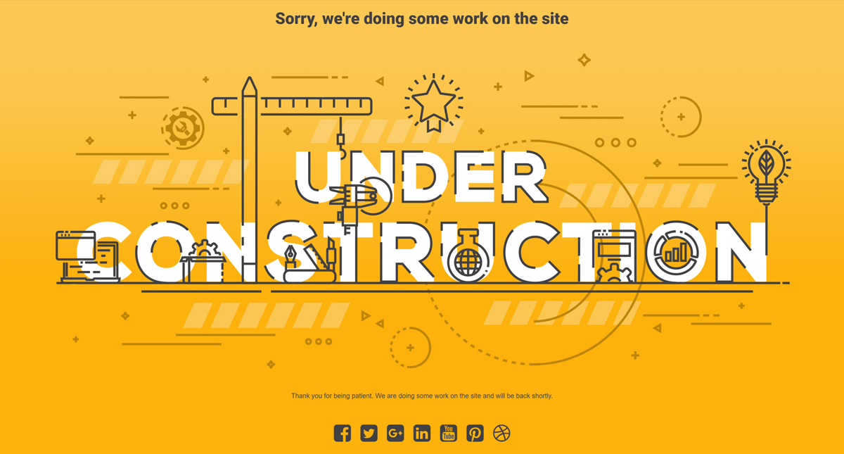 under construction page designing for site maintenance mood