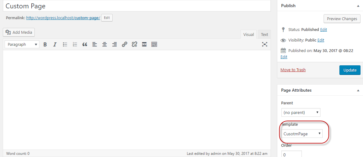 Create a page in the admin area and select the template as shown below: