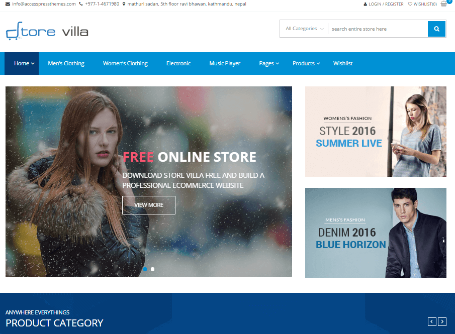 StoreVilla woocommerce wordpress theme