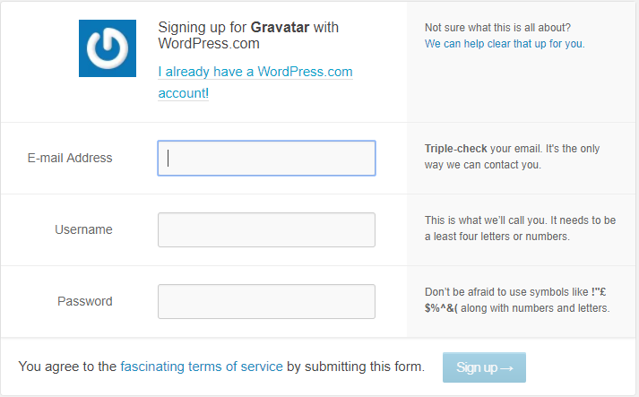 Signing up for Gravatar