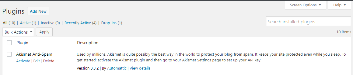 Akismet WordPress Plugin Installation