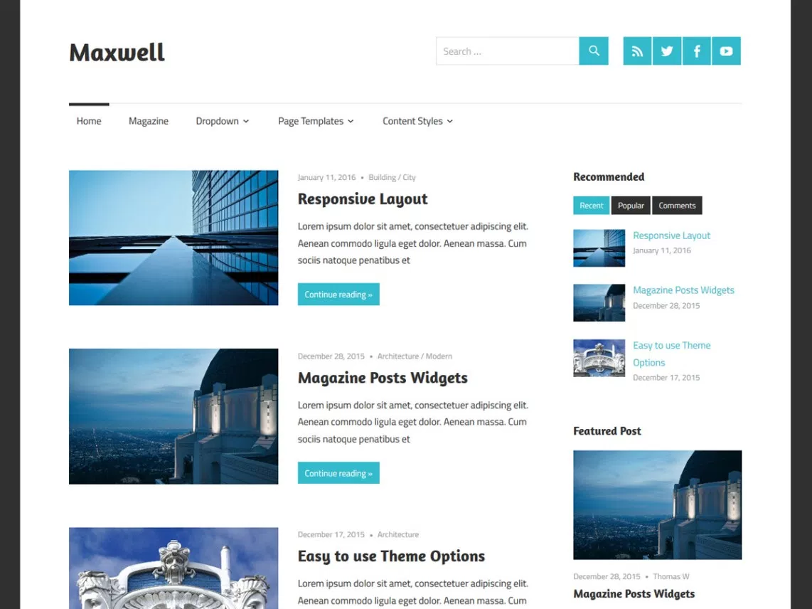 Maxwell theme for blogging websites