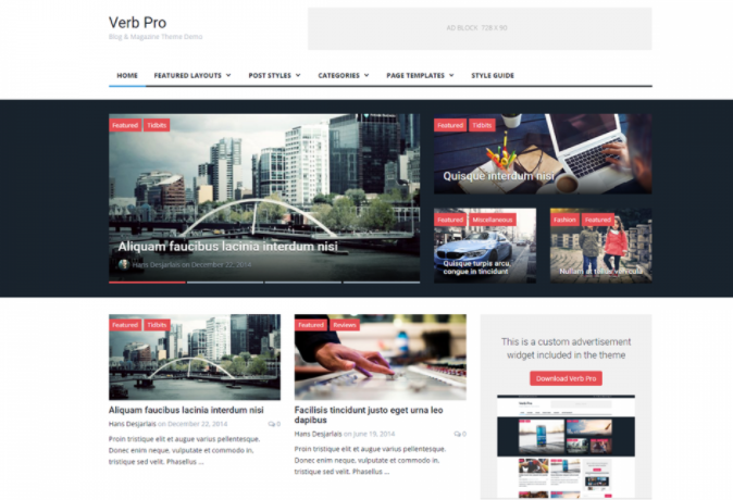 Verb Lite Theme- Magazine & Blogging themes