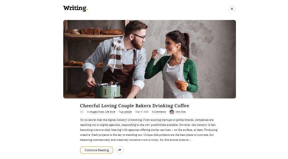 Writing Personal Blog WordPress Theme