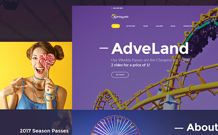 Adveland Amusement Park Free WordPress Theme