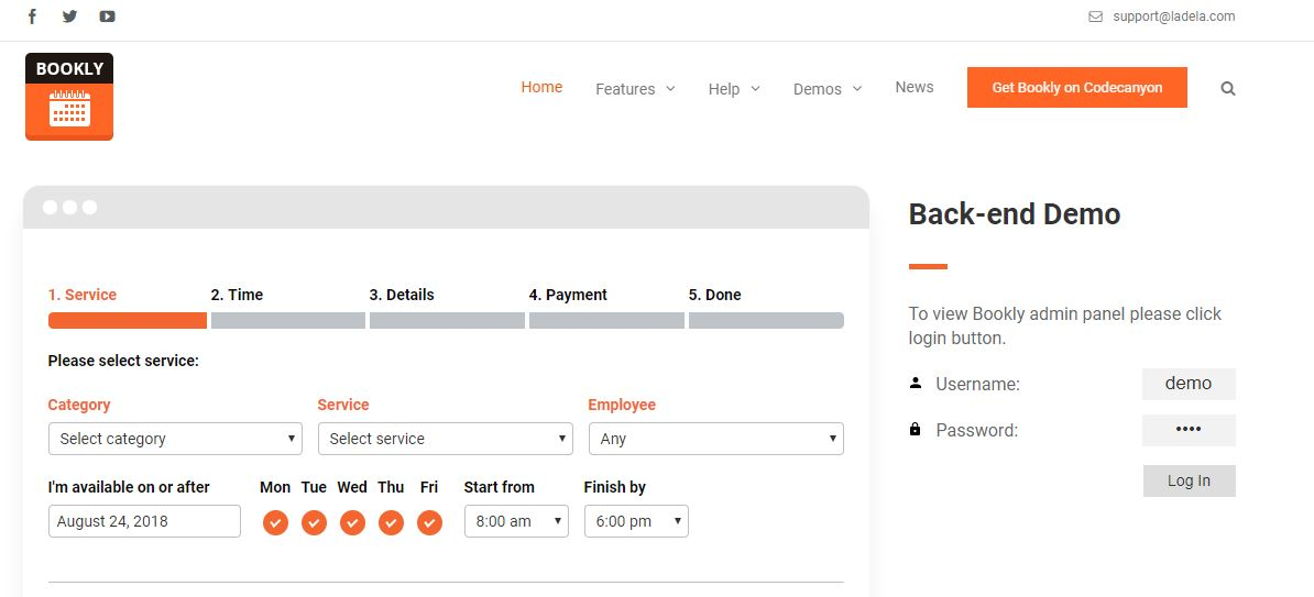 Bookly WordPress booking plugin
