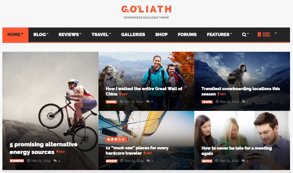 GOLIATH WordPress News & Reviews Magazine theme