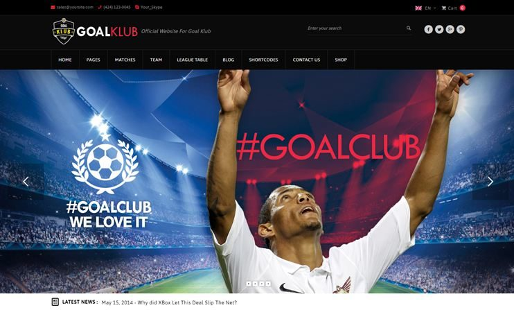 Goal Club Event WordPress Theme