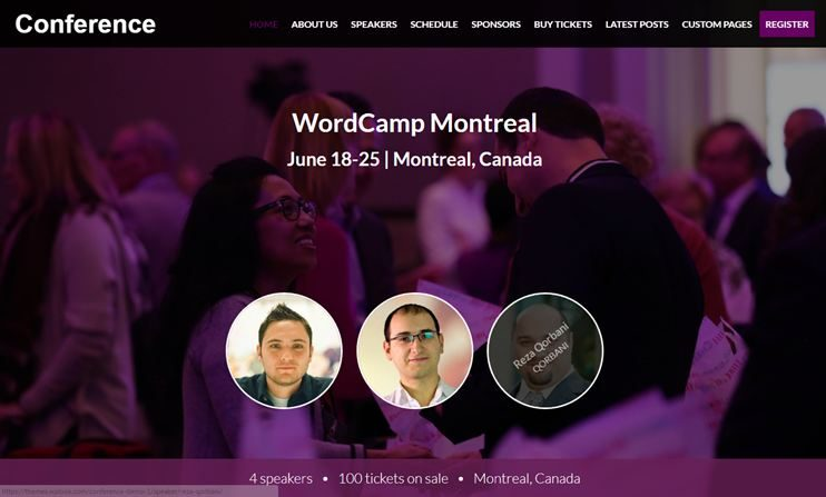 Conference Events WordPress theme