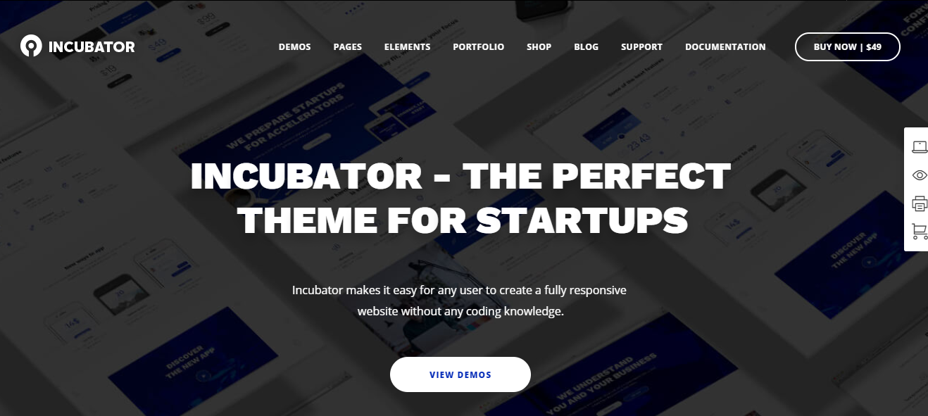 Incubator wordpress theme for event websites