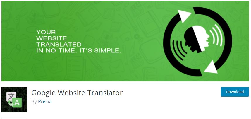 Google Website Translator language plugin