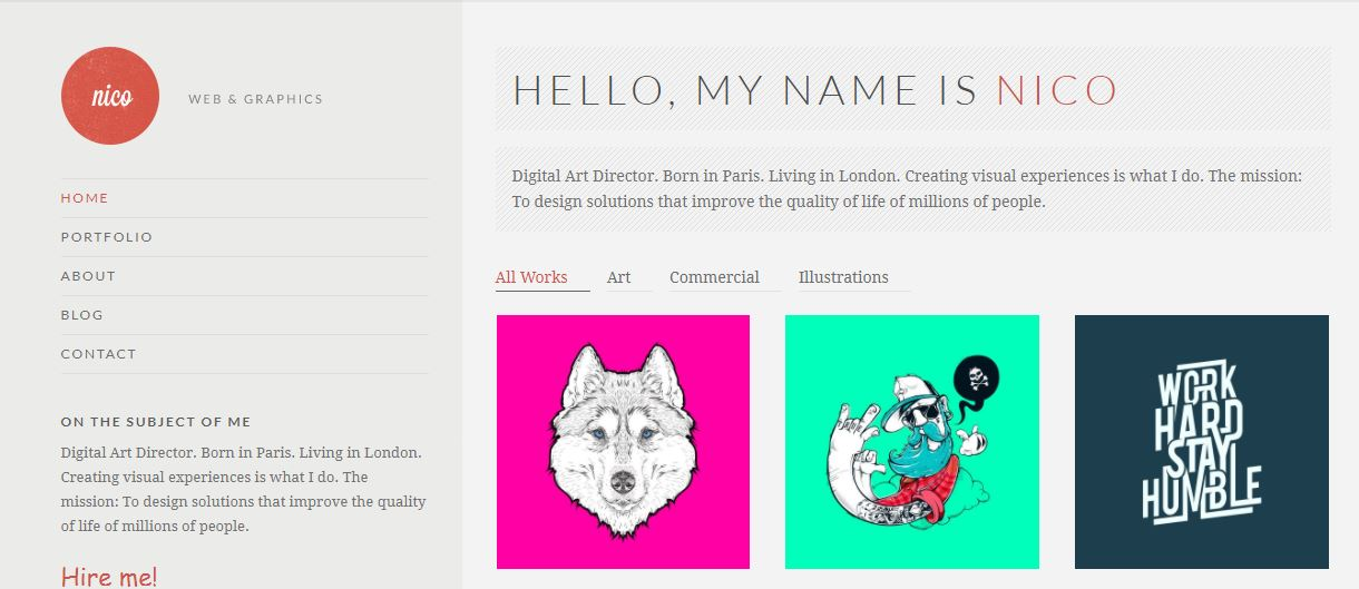 Nico artistic wordpress theme