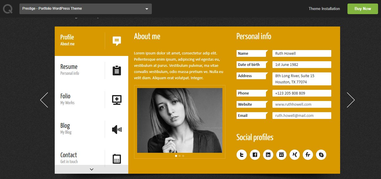 Prestige Portfolio WordPress Resume Theme
