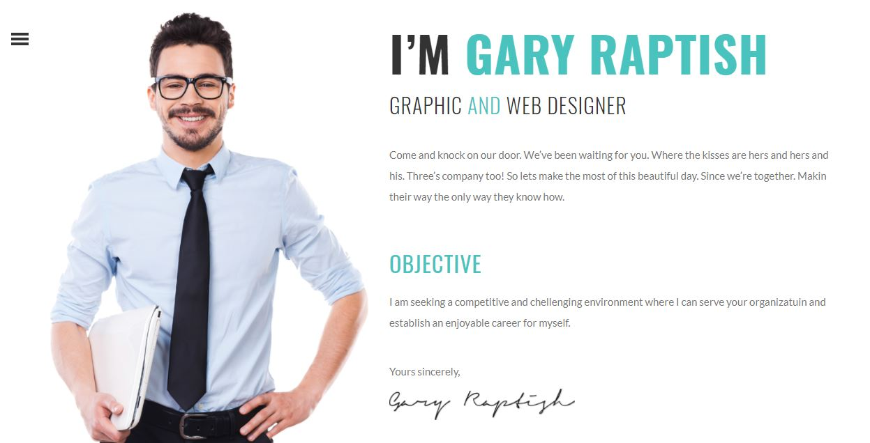 Raptish Resume/CV WordPress Theme