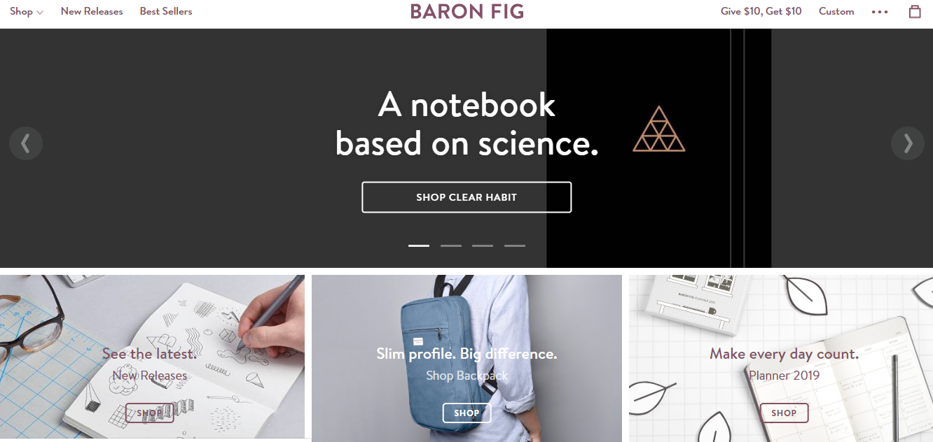 Baron Fig ecommerce website design example