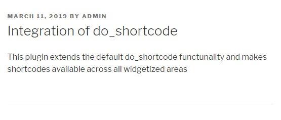 Integration of do_shortcode
