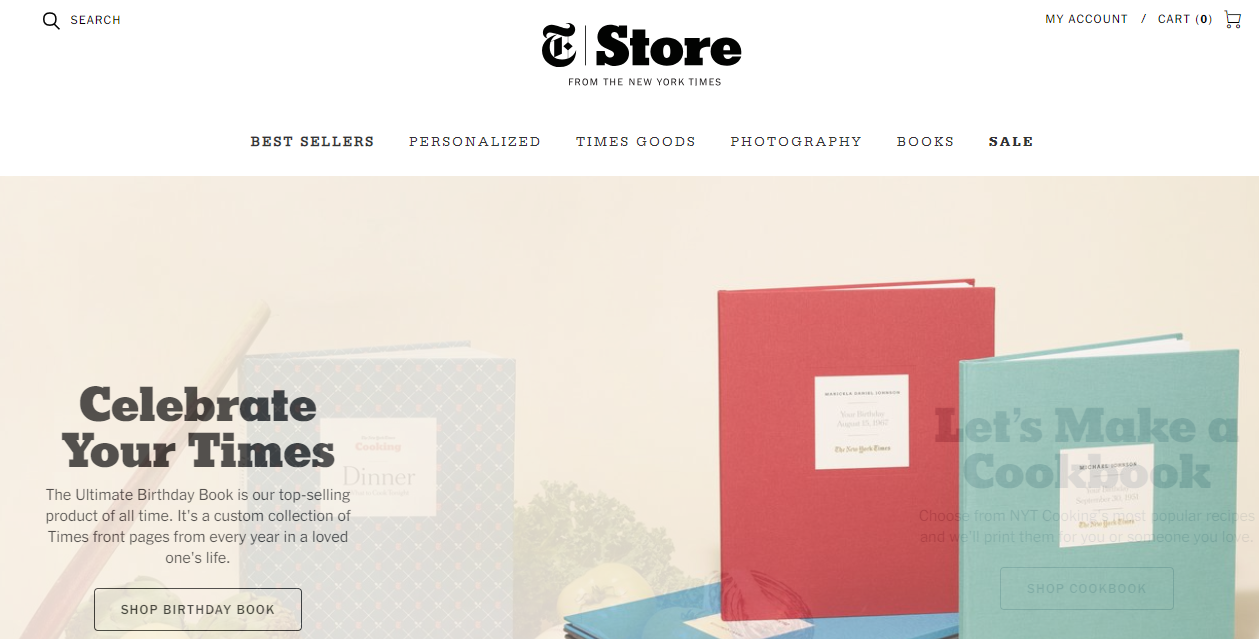 New York Times Store Website Design Example