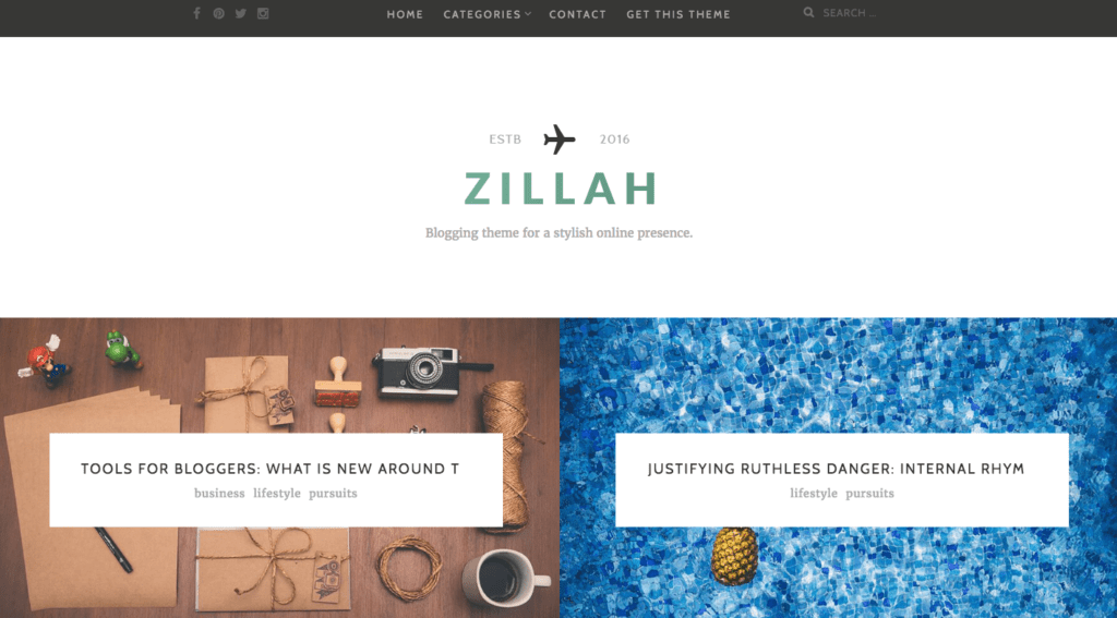 Zillah minimal design WordPress Theme