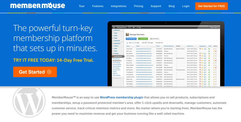 MemberMouse WordPress membership plugin