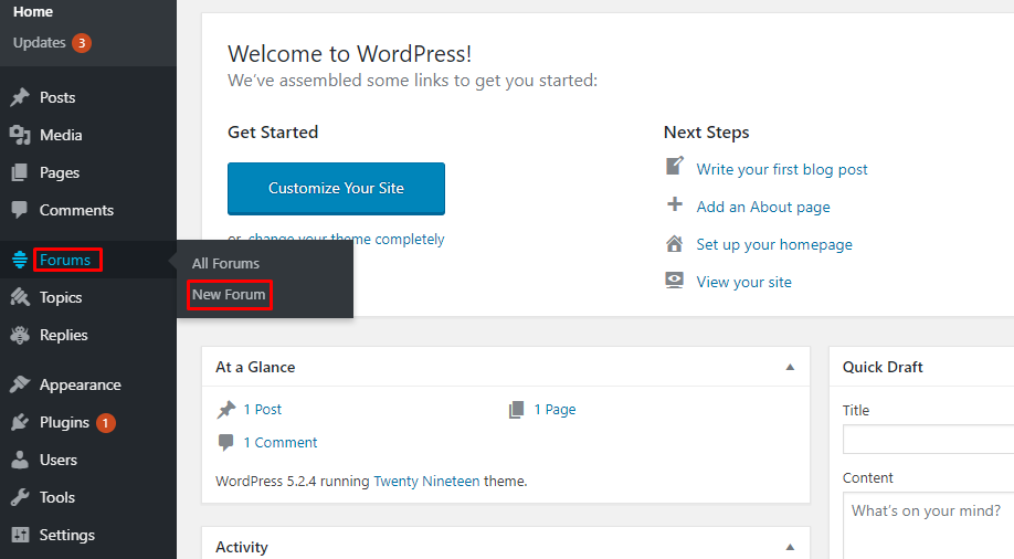 WordPress forum plugin activation