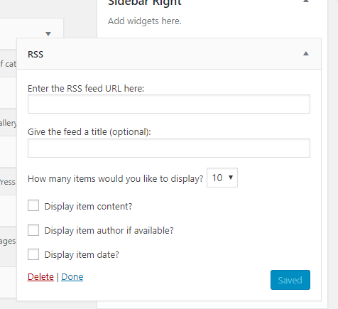 WordPress RSS feed section