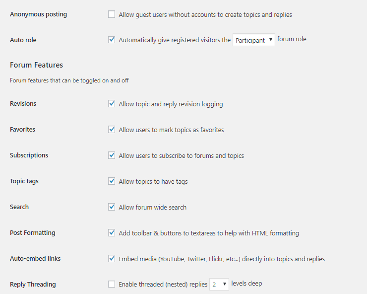 forum settings configuration page