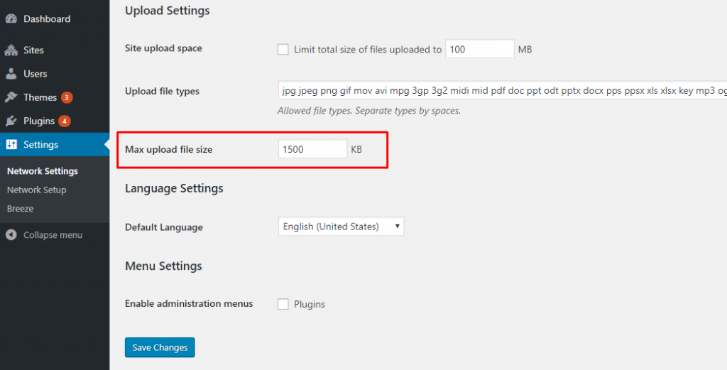 Increase WordPress Upload Limit in Multisite