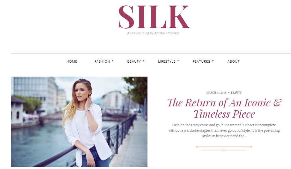 Silk fashion blog wordpress theme