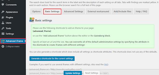 Advanced iframe basic settings
