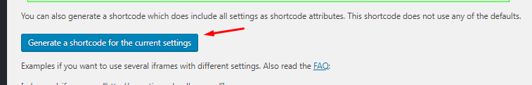 Generate a shortcode for the current settings