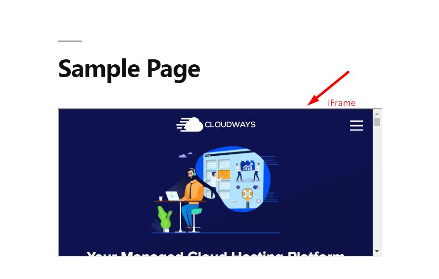 Sample WordPress iframe