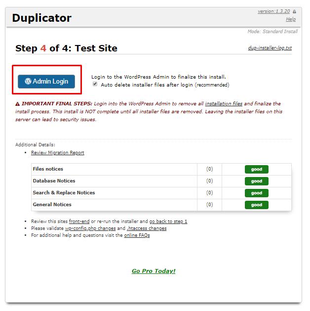 duplicator final step test site