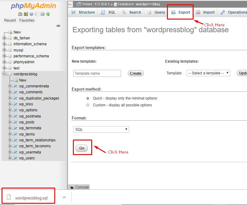exporting database in phpmyadmin