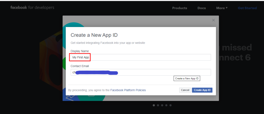 create a new FB app id