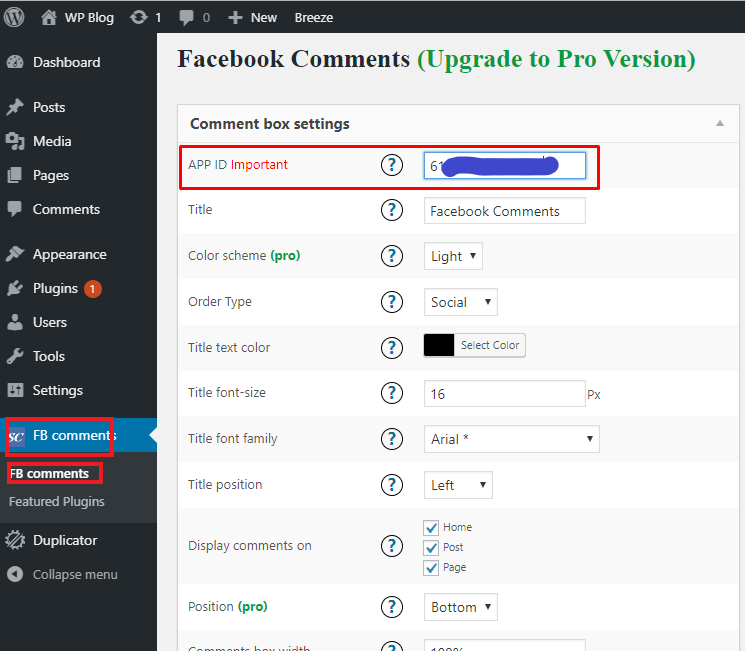 Configuring facebook app id on wordpress