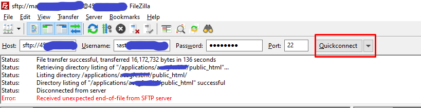 filezilla connection