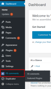 WordPress FB comments tab