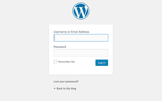 WordPress login and registration pages