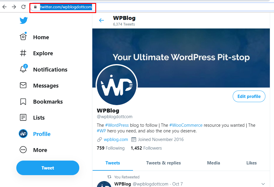 wpblog twitter account