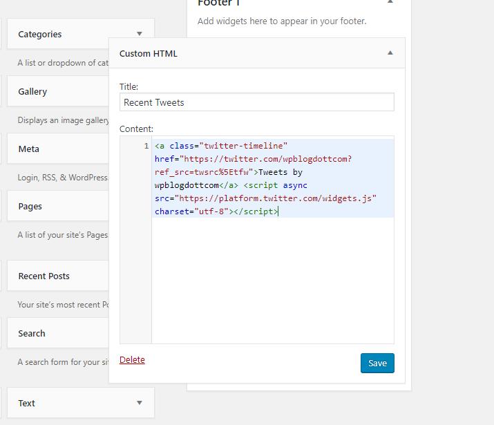 custom html twitter code